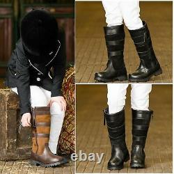Children Long Riding Boots Waterproof Zip Leather Country Horse Pony Stable Yard
