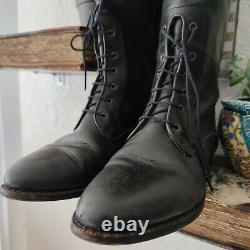 Cole Haan Vintage Lace Up Country Riding Boots Knee High Black Leather Size 7.5B