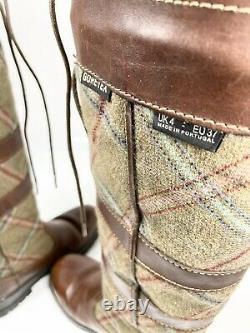 Dubarry Galway Country Boots UK4 EU37 Tartan Brown Equestrian Riding (1234 B17)