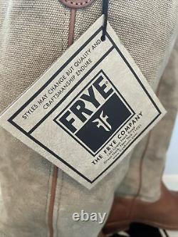 FRYE Brown Canvas & Leather Western Riding Boots Womens Size 9.5