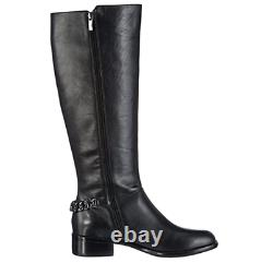 French Connection Black Leather Riding Boots Gracelyn Long Knee Chain 6 39