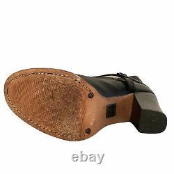 Frye Boots Womens Sz 7.5 Shoes Leather Black Julia Spur 77450 Riding Heel VGUC