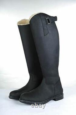 HKM Junior Flex Country Waterproof Elasticated Durable Leather Long Riding Boots