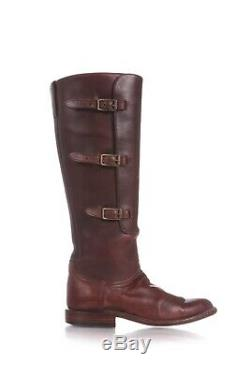 LUCCHESE Riding Boots Size 7.5 Leather Brown Buckle Knee High Round Toe Pull-On