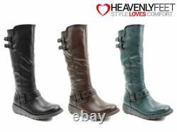 Ladies Tall Winter Boots Heavenly Feet Memory Foam Zip Up Comfort Winter Shoes