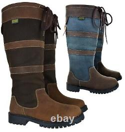 Ladies Womens Country Waterproof Riding Wyre Valley Leather Horse Boots Size
