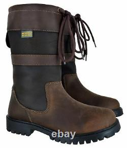 Ladies Womens Waterproof Biker Riding Country Leather Valley Wrye Boots Size