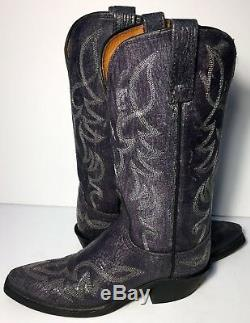 Lucchese 1883 Blue Leather Western Cowgirl Country Riding Boots Women Size 6.5