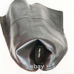 MIU MIU Tall Shaft VINTAGE Riding Boots 38.5 / 7.5 Luggage Brown Rtl. $1290
