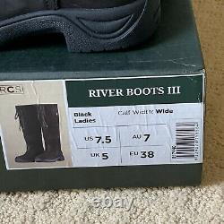 NEW Dublin River Boots III Wide Calf Black Size 7.5 barn riding country