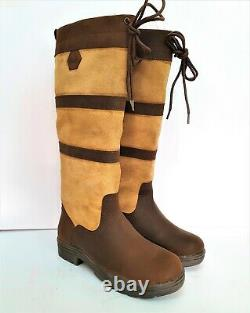 NEW PoleStar London Leather/Suede Riding Boots Country Boots Brown/Beige WithXWide