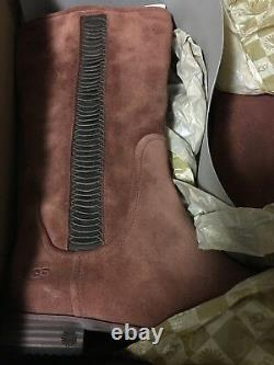 NIB UGG Annisa Rustic Riding Boots Leather Suede Cinnamon Brown Shoes Ws 8.5