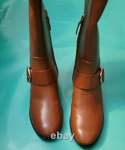 New Tory Burch Sofia Buckled Riding Boots brown sz 7.5M leather women shoes