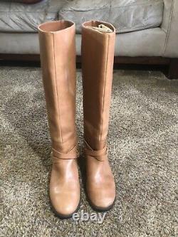 Ralph Lauren Jenny light Brown Leather Riding Boots w Brass Stirrup Sz 6 B