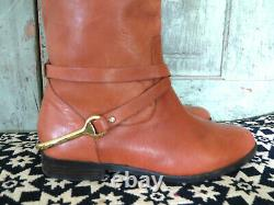 Ralph Lauren Jenny light Brown Leather Riding Boots w Brass Stirrup Sz 9.5 9 1/2