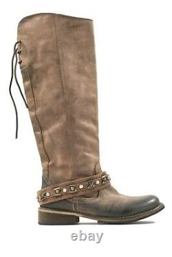 Romano Martegani Womens Size 6 Brown Tall Boots Leather Low Heel Military Riding
