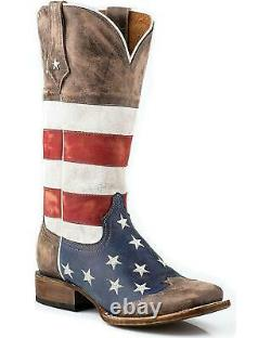 Roper Distressed American Flag Cowgirl Boot Square Toe 09-021-7001-0107