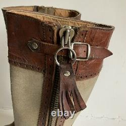 Superb Pair Of Vintage Long Leather Riding / Country Boots From Spain