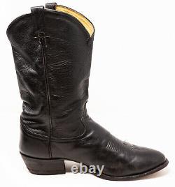 TONY LAMA Western Ol Buck Boots Mens Size 11 1/2 D Leather Black 6156 USA EUC