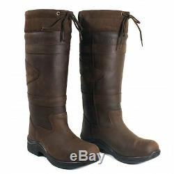Toggi Canyon Waterproof Long Country Boots Leather Riding Brown Casual