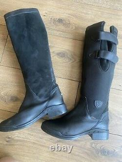 Vgc Ariat Country Pro Black Leather Waterproof Riding Knee High Boots 4.5 37.5