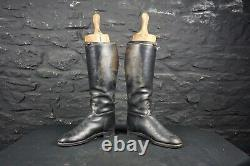 Vintage Black Leather Riding Boots with Wooden Trees Country House Decor