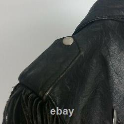 Vintage Black Leather Suede Fringe Lloyd Johnson Jacket Mens Size Small