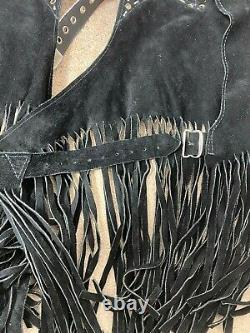 Vintage Western Country Horse Riding Chaps Mens Suede Tassels Cowboy Black Rare