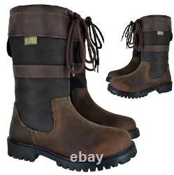 Womens Comfy Walking Hiking Waterproof Leather Riding Wrye Ladies Boots Shoes