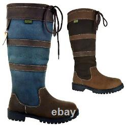 Womens Country Riding Walking Outdoor Waterproof Leather Shoes Ladies Boots