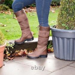 Womens Riding Country Boots Pony Horse Outdoor Waterproof Leather Stable Yard